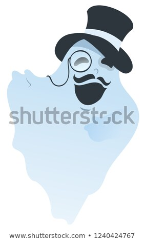 White ghost with mustache in hat and pince-nez Stock photo © orensila