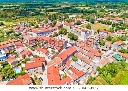 village of svetvincenat in inland istria aerial view stock photo © xbrchx