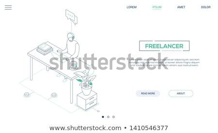 vector · moderne · boekenplank · kantoor · ontwerp · kamer - stockfoto © decorwithme