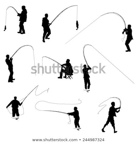 pêcheur · canne · à · pêche · poissons · vecteur · icône · pêche - photo stock © robuart