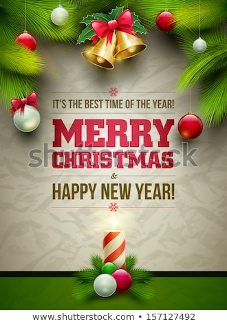 merry christmas and happy new year text template with christmas tree branches border frame vector i stock photo © ikopylov
