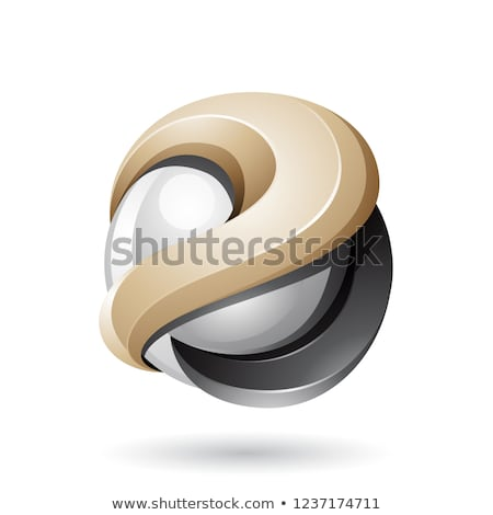 Beige and Black Bold Metallic Glossy 3d Sphere Vector Illustrati Stock photo © cidepix
