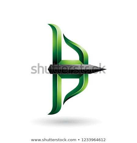 Groene zwarte boeg pijl vector illustratie Stockfoto © cidepix