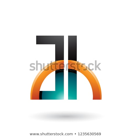 green and orange letters a and h with a glossy half circle vecto stock photo © cidepix