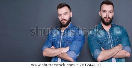 Retrato dois jovem gêmeo irmãos isolado Foto stock © deandrobot