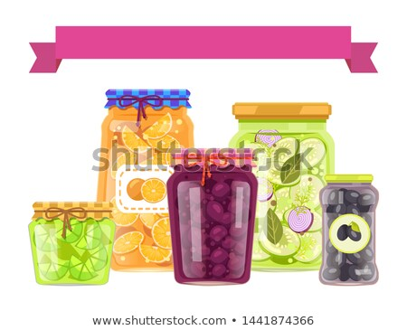 Poster with Cartoon Vegetable Conservation Set Stock photo © robuart