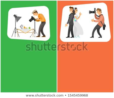 fotógrafo · foto · recém-casado · câmera · câmera · digital - foto stock © robuart
