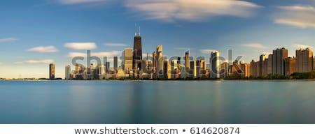 Panorámakép kilátás sziluett Chicago USA épület Stock fotó © vwalakte