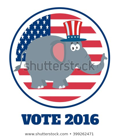 elephant cartoon character with uncle sam hat over usa flag label and text stock photo © hittoon