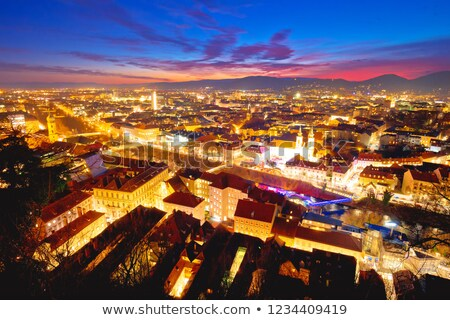 Stock photo: Graz Cityscape Evening Colorful Aerial View