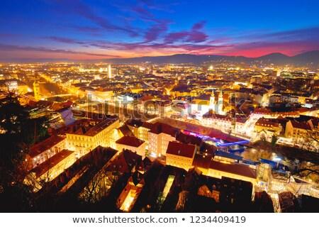 graz cityscape evening colorful aerial view stock photo © xbrchx