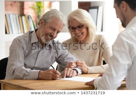 マネージャ 作業 銀行 ブローカー 老夫婦 署名 ストックフォト © diego_cervo