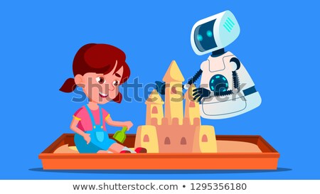 Robot Builds A Sand Castle With Little Child On The Sandbox Vector. Isolated Illustration Stock photo © pikepicture