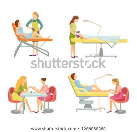 Spa Salon Cosmetician and Manicurist Icons Vector Stock photo © robuart