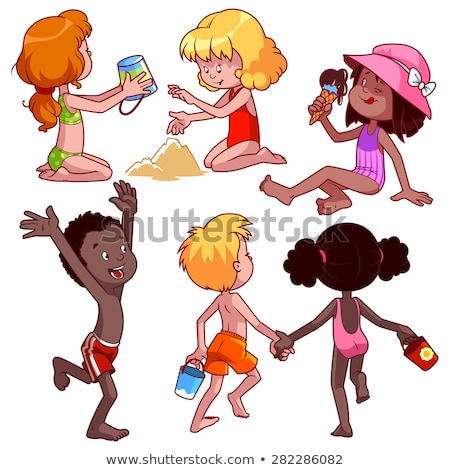 set of african kids at the beach stock photo © bluering