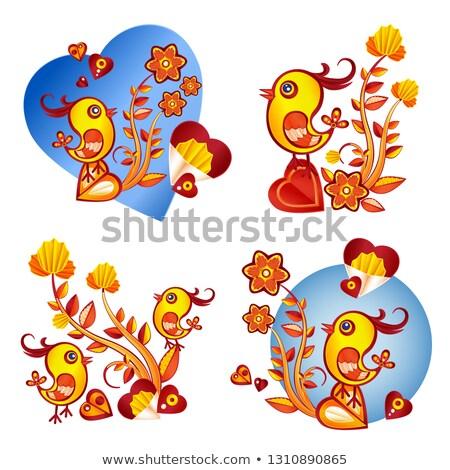 valentine · dia · ilustração · frango · flores · coração - foto stock © heliburcka