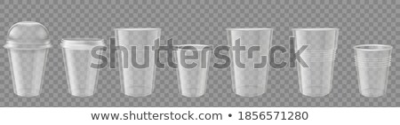 Plastic Cup Transparent Vector. Mockup Coffee. Drink Mug. Disposable Tableware Clear Empty Container Stock photo © pikepicture