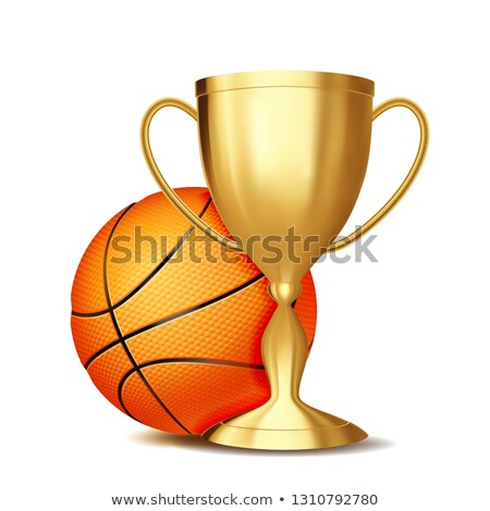 Сток-фото: Basketball Award Vector Basketball Ball Golden Cup For Sport Promotion Tournament Championship