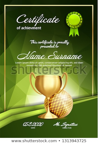 Certificate Diploma With Golden Cup Vector. Luxury Paper. Vintage Appreciation. A4 Frame. 3D Realist Stock photo © pikepicture