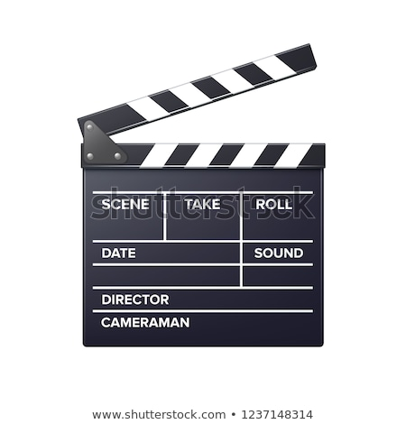 Vector realistic movie clapper slapstick with markup front view isolated on white background Stock photo © MarySan
