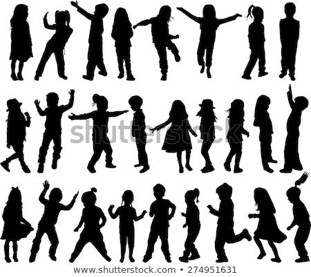 vektör · siluet · dans · çocuklar · beyaz · kız - stok fotoğraf © krisdog