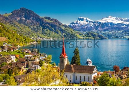 Alpok Svájc hegy kilátás víz tájkép Stock fotó © xbrchx
