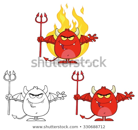 Mal rouge diable flammes Photo stock © hittoon