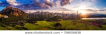 Панорама · закат · популярный · замок · небе · дерево - Сток-фото © cookelma