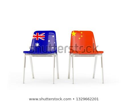 Due sedie bandiere Australia Cina isolato Foto d'archivio © MikhailMishchenko