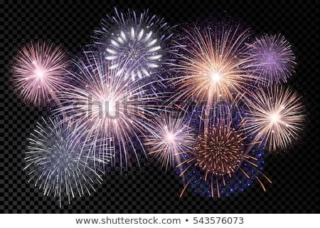 Tűzijáték vektor ünnepi karnevál éjszakai ég izolált Stock fotó © pikepicture