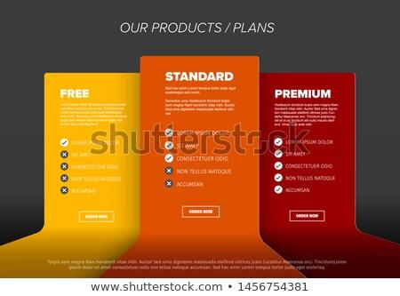termék · szolgáltatások · verzió · asztal · tulajdonságok · séma - stock fotó © orson