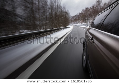 Gyors mozog autó tél alpesi út Stock fotó © lightpoet