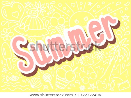 hello summer yellow card of 3d paradise flower stock photo © cienpies
