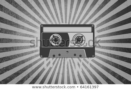 Cassette Tape over Grey Background Rays Grunge Stock photo © swatchandsoda