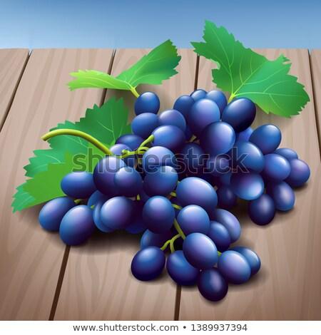 Realista roxo uvas monte folhas verdes Foto stock © MarySan