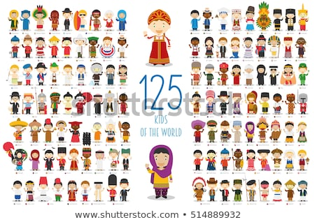 Set of multicultural kids character Stock photo © bluering