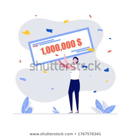 character happy woman holding bank check vector stock photo © pikepicture