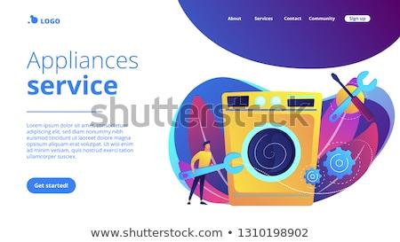 Naprawy gospodarstwo domowe urządzenia lądowanie strona usługi Zdjęcia stock © RAStudio
