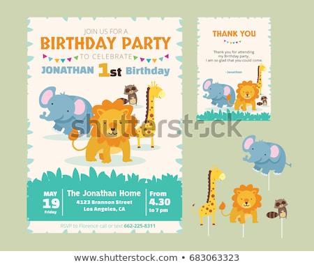 Giraffe verjaardag partij ontwerp frame star Stockfoto © bluering