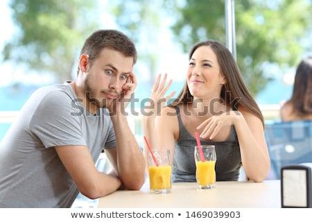 Nő beszél fiúbarát fiatal nő ül retro Stock fotó © Kzenon