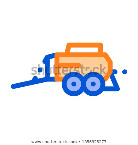 Hay Pressing Trailer Vehicle Vector Thin Line Icon Stock photo © pikepicture