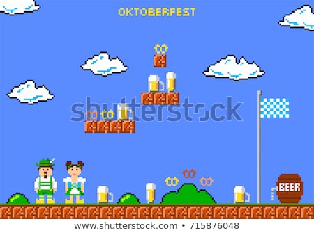 character of pixel 8 bit game man and woman vector stock photo © robuart