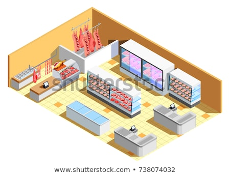 vector isometric butcher shop interior stock photo © tele52