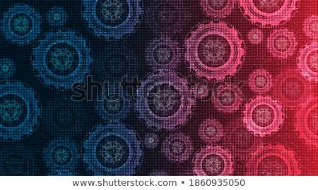 Stok fotoğraf: Dijital · vektör · mavi · kırmızı · çalışmak · uzay