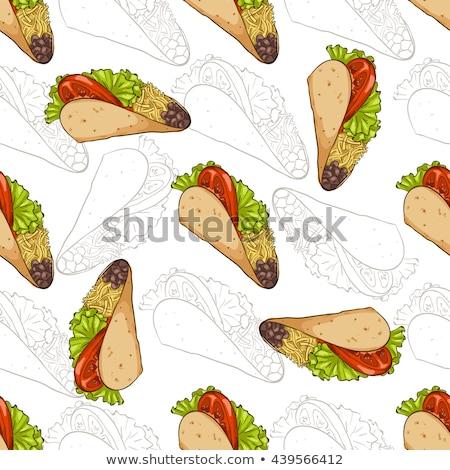 Végtelen minta szín taco sötét eps 10 Stock fotó © netkov1
