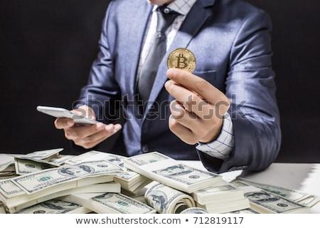 Değiştirme bitcoin para vektör logo soyut Stok fotoğraf © butenkow