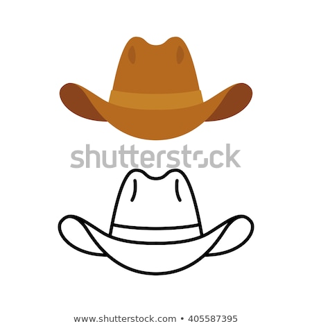 cowboy hat flat color and line old cowboy hat vector stock photo © andrei_