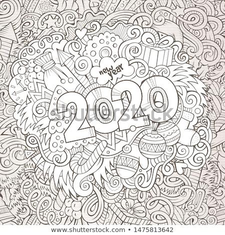 Hand gezeichnet Kritzeleien Kontur line Illustration Neujahr Stock foto © balabolka