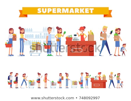 Supermarket Stores Male Workers at Work Vector Stock photo © robuart