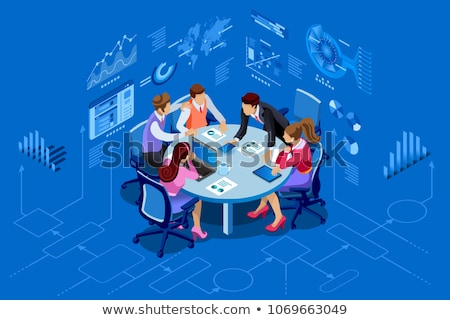 Isometric team work people business and brainstorm Stock photo © frimufilms